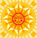 Orange sun. Raster version of vector orange sun with a happy face (contain the Clipping Path Stock Image