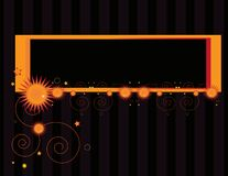 Orange sun banner background 2. Orange banner on a gray and black striped background royalty free illustration