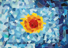 Orange sun in blue sky. Made from many pieces of torn paper royalty free stock photography