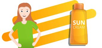 Orange sun cream tube concept banner, cartoon style stock illustration