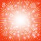 Orange Sun Lights. Sun Burst on Orange Background. Ray Background with Stars Stock Photos