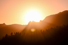 Orange Sun Setting Royalty Free Stock Photos