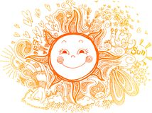 Orange sun, sketchty doodles Stock Photography
