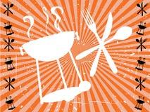 Orange Sun-Strahl BBQ, der Schattenbild isst Stockfoto