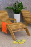orange sunbed handduk Arkivfoto