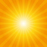 Orange sunburst background. With light rays stock illustration