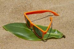 Orange sunglasses lying on the sand beach. India Goa Stock Image