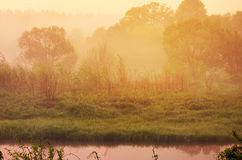 Orange sunrise in countryside Royalty Free Stock Images