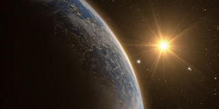 Orange Sunrise over earth Royalty Free Stock Images