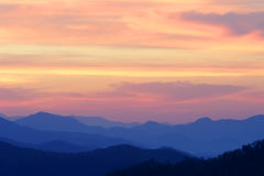 Orange Sunrise Over Mountains Royalty Free Stock Images