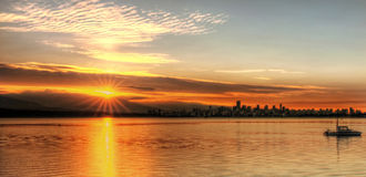 Orange Sunrise Over Vancouver Royalty Free Stock Images