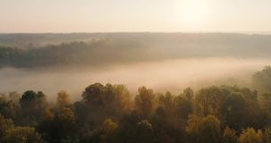 Orange sunrise on the river, 4K aerial view of morning mist at sunrise, orange rays of the sun through the morning mist on the riv. Er, Aerial view of mystical stock footage