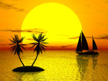 Orange sunset. Boat, palm (see more in my portfolio Royalty Free Stock Images