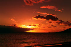 A Orange sunset. Op Hawaii Royalty Free Stock Photo