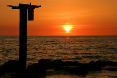 Orange Sunset. In the Tampa Bay area of Florida's Gulf Coast royalty free stock images