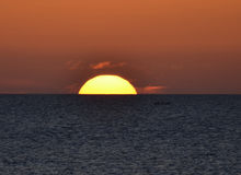 Orange Sunset. In the mediterranean sea in autumn Royalty Free Stock Images