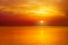 Orange sunset. Magic orange sunset over sea royalty free stock images