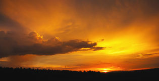 Orange Sunset. Пolden sunset after a heavy rain Royalty Free Stock Images