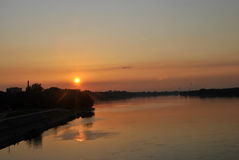Orange sunset above the city Royalty Free Stock Image