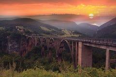Orange sunset above mountains Royalty Free Stock Image