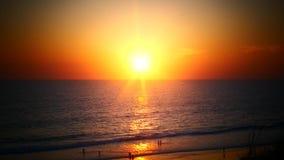Orange Sunset above ocean stock footage