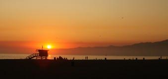 Orange Sunset Along the Sea in Venice Beach Califo Stock Photos