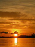 Orange sunset on the amazon river Stock Photos