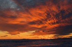 Orange sunset in Catalonia Royalty Free Stock Photography