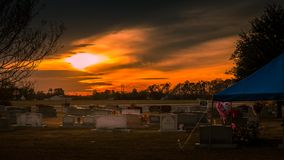 Cemetary at Sunset with wreath royalty free stock photography