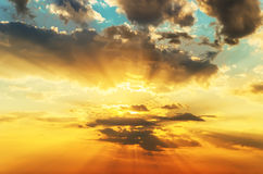 Orange sunset in clouds Royalty Free Stock Photography