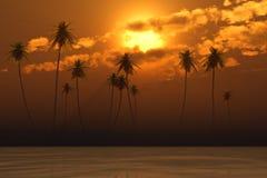 Orange sunset in clouds Stock Photo