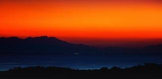 Orange sunset. Deep vibrant orange sunset sky Stock Photo