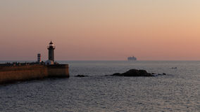 Orange sunset at the Douro river mouth Royalty Free Stock Photography