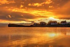 Orange sunset, Hofn, Iceland royalty free stock photo