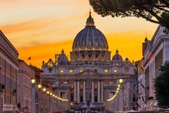 Orange Sunset Street Lights Saint Peter& x27;s Basilica Vatican Rome Italy. Orange Sunset Illuminated Street Lights Evening Via D. Conciliazione Saint Peter& x27 stock photos