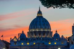 Orange Sunset Street Lights Saint Peter& x27;s Basilica Vatican Rome Italy. Orange Sunset Illuminated Street Lights Evening Via D. Conciliazione Saint Peter& x27 royalty free stock photos