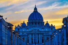 Orange Sunset Street Lights Saint Peter& x27;s Basilica Vatican Rome Italy. Orange Sunset Illuminated Street Lights Evening Via D. Conciliazione Saint Peter& x27 stock images