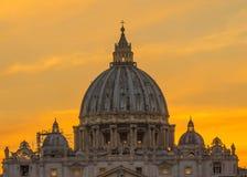 Orange Sunset Street Lights Saint Peter& x27;s Basilica Vatican Rome Italy. Orange Sunset Illuminated Street Lights Evening Via D. Conciliazione Saint Peter& x27 stock photo