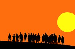 Orange sunset illustration. Silhouettes of young children in sunset - illustration (with vector eps format royalty free illustration