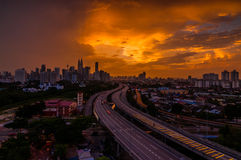 Orange Sunset from jelatek. This picture taken from Jelatek Flat view KLCC with AKLEH leading line highway stock photos