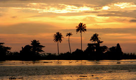 Orange sunset in Kerala, India Stock Photography