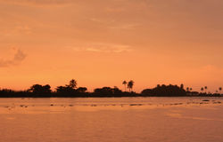 Orange sunset in Kerala, India Royalty Free Stock Photography
