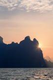 Orange sunset. At Khao Sok National Park Royalty Free Stock Image