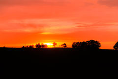Orange sunset landscape. Stock Photos