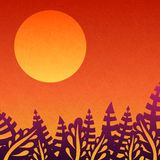 Orange sunset. Nice gradient background. Big sun. Background with leaves, sunsets and the departing sun. Tropical, nature, rest. Royalty Free Stock Photo