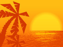 Orange sunset at the ocean Royalty Free Stock Photo