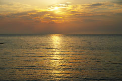 Orange sunset on the ocean Royalty Free Stock Photo