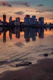 Orange sunset over Canary Wharf Royalty Free Stock Photo