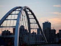 Orange Sunset Over Downtown In Edmonton Alberta. In summer Stock Photography