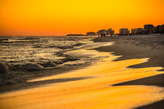 Orange sunset over gulf of mexico at destin fl Royalty Free Stock Images